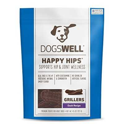 Dogswell Natural Happy Hips Joint Wellness Duck Recipe Grillers Treat Dogs 4.5z