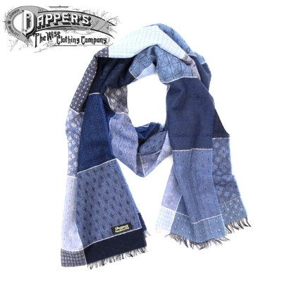 【DAPPER'S(ダッパ—ズ)】Quilt Pattern Woolen Scarf by V.FRAAS LOT1278 BLUE/GRAY マフラー ストール
