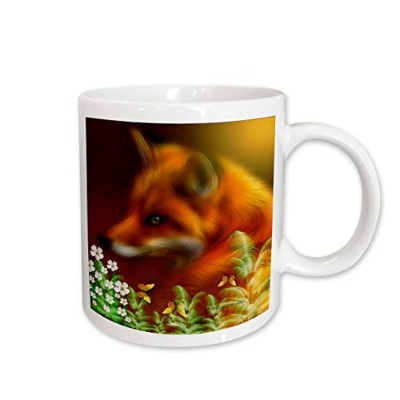 (330ml) - 3dRose Red Fox in The Garden Mug, 330ml