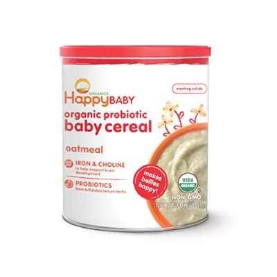 Nurture Inc. (Happy Baby), Happybellies, Oatmeal Baby Cereal, DHA, Choline, and Probiotics, 7 oz ...