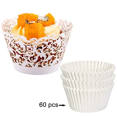 (White) - DYixin Baking Cups & Cupcake Liners,Pack of 60 for each,Mini Lace Paper Cupcake Liners...