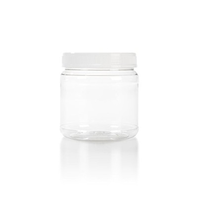 (6) 1120ml Clear Plastic Wide/Large Mouth Jar with Lid, 110mm 110-400 (1120ml, White Lid)