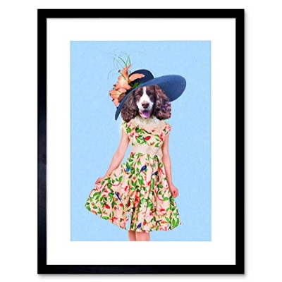 Spaniel Lady Dress & Hat Wall Art Framed Wall Art Print ドレス壁壁