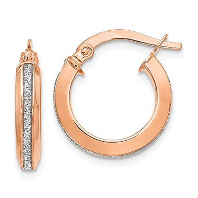 Beautiful Rose gold 14K Leslie's 14k Rose Gold Polished Glimmer Infused Hoop Earrings comes with a...