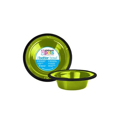 Platinum Pets 2-Cup Stainless Steel Wide Rimmed Bowl, Corona Lime by Platinum Pets