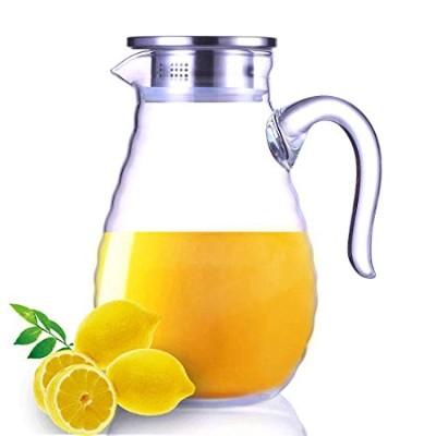 JIAQI Double Glass Pitcher with Stainless Steel Lid and Spout 1800ML Water Carafe with Handle, Good...