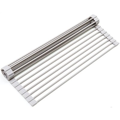 (Warm Gray - 1 Pack) - Surpahs Over the Sink Multipurpose Roll-Up Dish Drying Rack (Warm Grey,...