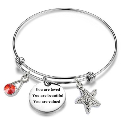 You Are Loved You Are Beautiful You Are Valued 12ヶ月誕生石正インスピレーション誕生日ギフトチャームブレスレット、Expandable Wire...