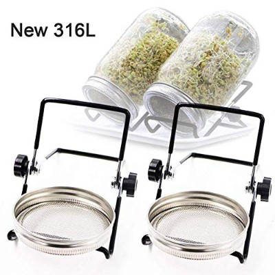 Sprouting Jar Lids and Stands、Sproutingキットステンレススチールfor 32 oz Wide Mouth Mason Jarと電話iPadタブレット(2pcs...