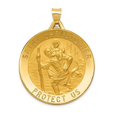 Beautiful Yellow gold 14K Yellow-gold 14k Saint Christopher Medal Pendant comes with a Free Jewelry...