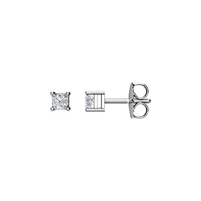 Beautiful White-gold Princess Diamond Stud Earrings comes with a Free Jewelry Gift