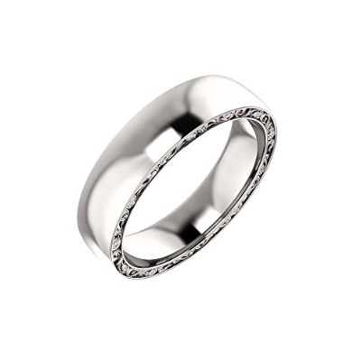Beautiful Platinum plat 900 Platinum Sculptural-Inspired Relief Pattern Band comes with a Free...