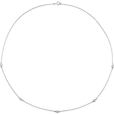 Beautiful White-gold Station Bezel Set Necklace comes with a Free Jewelry Gift