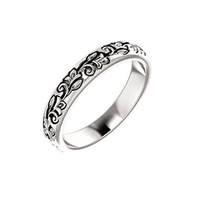 Beautiful White gold 14K White-gold Floral-Inspired Band comes with a Free Jewelry Gift