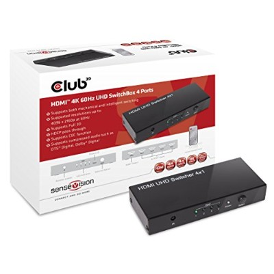 Club3D SenseVision HDMI2.0 4K 60Hz UHD 4IN / 1OUT スイッチボックス Switch Box (CSV-1370)