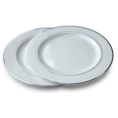 Occasions 使い捨てプラスチック皿 120パック 厚手 結婚パーティー用 Extra Large Dinner Plate / Charger シルバー
