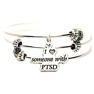 """ChubbyChicoCharms I Love Someone With PTSD Expandable Wire Tripleスタイルバングルブレスレット、2.5"""""""