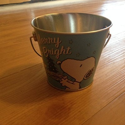 Peanuts Charlie Brown & Snoopy Mini Christmas Tin Bucket - Blue by Peanuts