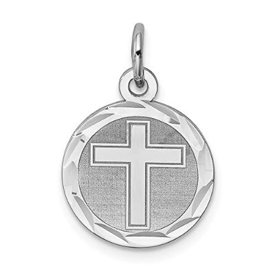 Beautiful Sterling silver 925 sterling Sterling Silver Rhodium-plated Cross Disc Charm comes with a...