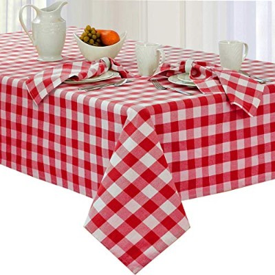 (150cm Round, Red) - Newbridge Buffalo Cheque Indoor/Outdoor Cotton Tablecloth - Cottage Style...
