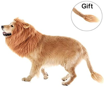 (X,S,M) - Lion Mane for Dog, Lion Fancy Costume Adjustable Mane with Lion Tail for Dogs, Festival...