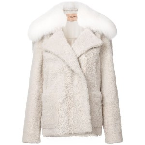 Yves Salomon shearling coat - ニュートラル