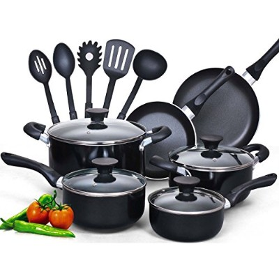 Cook N Home 15Piece Non Stickブラックソフトハンドル調理器具セット