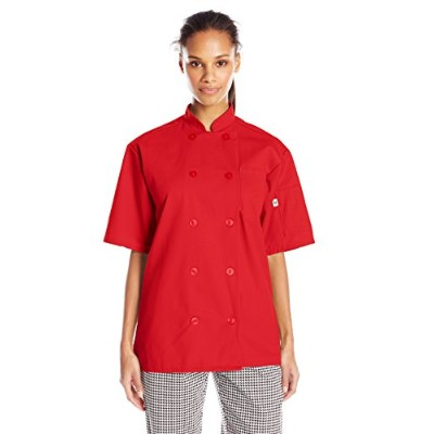 Uncommon Threads 0415-1902 Small Short Sleeve Chef Coat in Red