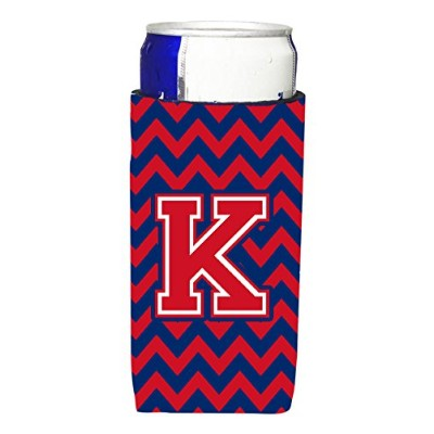 Letter K Chevron Yale Blue and Crimson ウルトラ飲料保温器 スリム缶用 CJ1054-KMUK