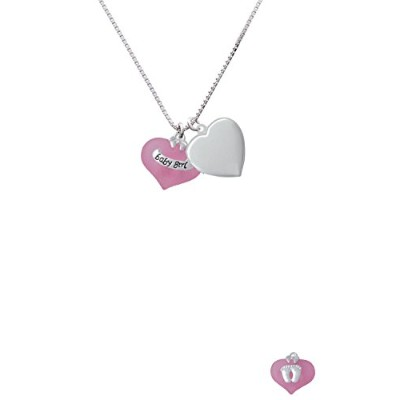 """Baby GirlピンクHeart With Baby Feetハートロケットネックレス、18 """" + 2 """""""