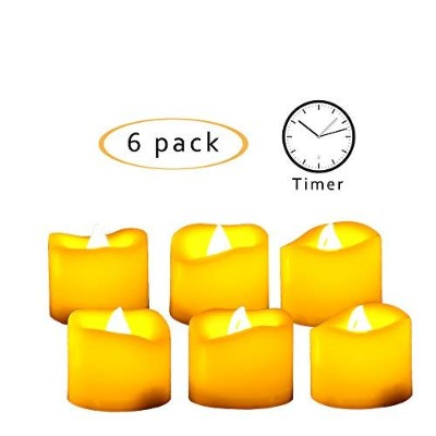 Flameless LEDティーライトとタイマー–リアルなちらつきバッテリーOperated Powered Electric Tealight Votive Candles by qidea...