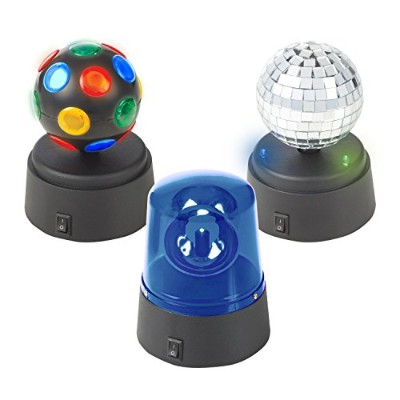 Global Gizmos Pack of 3 Battery Operated Mini Disco Party Fun Lights, Black