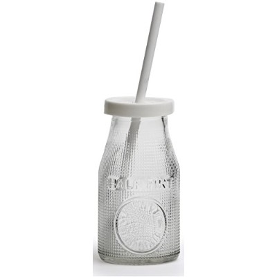 Circleware Natural Drink Glass Milk Drink Bottles with Strong Reusable Caps and Plastic Straws, Set...