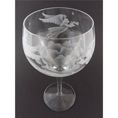 incisoart手エッチングイタリアCrystal Goblet Sandblasted (砂Carved) ハンドメイドワイン水ガラスEngraved Angel Gabriel 's Horn...