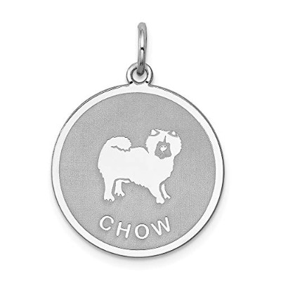 Beautiful Sterling silver 925 sterling Sterling Silver Rhodium-plated Chow Disc Charm comes with a...