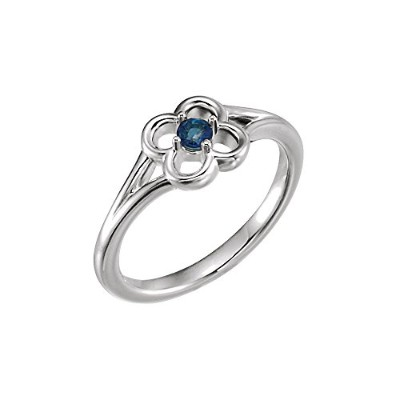 Beautiful White-gold Genuine Blue Sapphire Flower Youth Ring comes with a Free Jewelry Gift