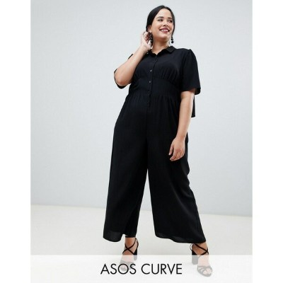 エイソス レディース ワンピース トップス ASOS DESIGN Curve shirt tea jumpsuit with open back Black
