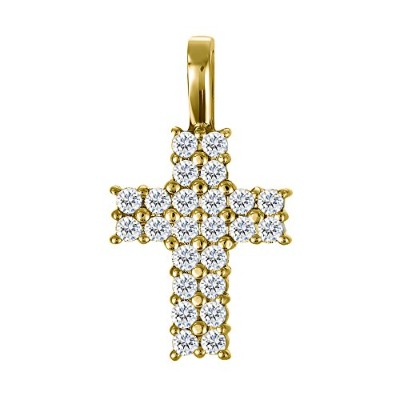 10Kゴールド10Kゴールドダブル行Cross Pendant with Chain Set with CZ ( 0.48CT。TWT。With Cz ( 0.48CT。TWT。