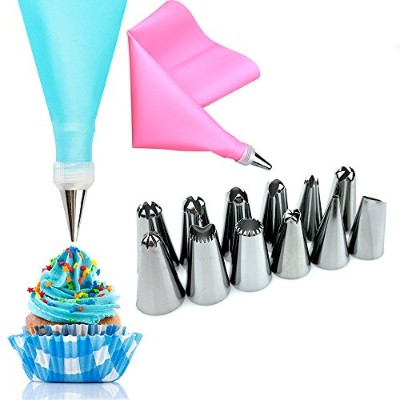 14 Pcs/Set Silicone Icing Piping Cream Pastry Bag +12PCS Stainless Steel Nozzle Pastry Tips...
