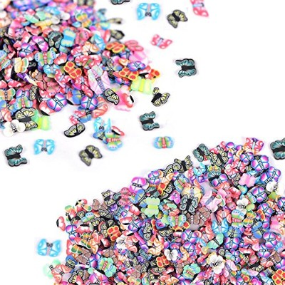 (Butterfly) - 2000 Pcs Butterfly Fimo Slices for Slime,DIY Crafts,polymer clay canes Nail Art...