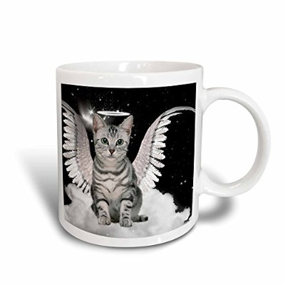 3dRose mug_62893_3 Grey Tabby Cat Angel Sitting on a Cloud with a Cute Halo and Angel Wings Magic...