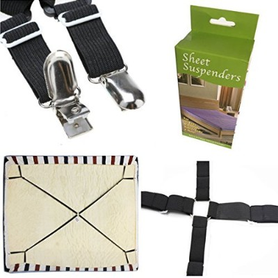 (One Set Crisscross) - FlyingP Sheet Bed Suspenders Bed Bands Crisscross Adjustable Bed Fitted...
