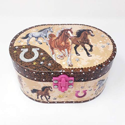 [ホット フォーカス]Hot Focus Dashing Horse Oval Shaped Musical Jewelry Box 302 DH [並行輸入品]