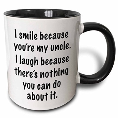 (330ml Two-Tone Black Mug) - 3dRose mug_112163_4 Because you're my uncle Two Tone Black Mug, 330ml,...