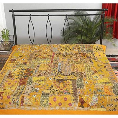 Yellow Hand Stitched Queen Bed Cover Bohemian Embroidered Bedspread Tapestry