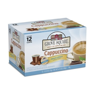 Grove Square Cappuccino, French Vanilla, 12 Single Serve Cups (Pack of 3) by Grove Square Cappuccino
