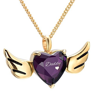 yinplsmemory Daddy Carved Angel Wings Heart Urnネックレス灰ホルダー鋼火葬記念品ペンダントジュエリー