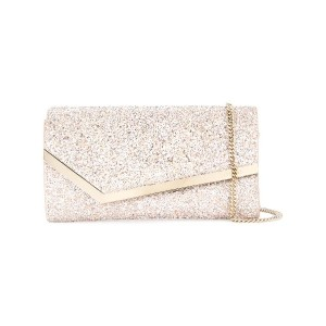 Jimmy Choo Emmie glitttered clutch - ピンク