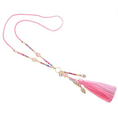 Tassel Statement Beaded Pink Colorful Bohemian Rope Chain Pendant Necklace [並行輸入品]