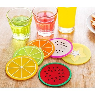 (colorful) - JASSINS Fruit Slice Silicone Coaster Unique & Eye Catching,Especially Design for Your...